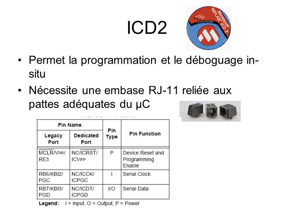 ICD2 Permet la programmation et le déboguage in-situ