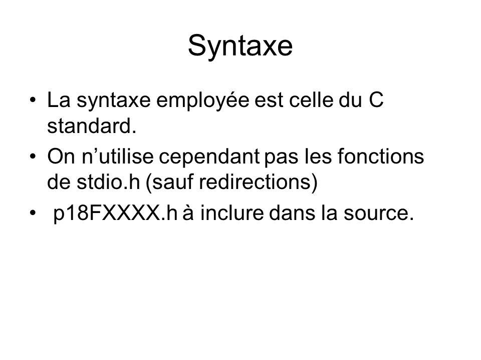 Syntaxe La syntaxe employée est celle du C standard.