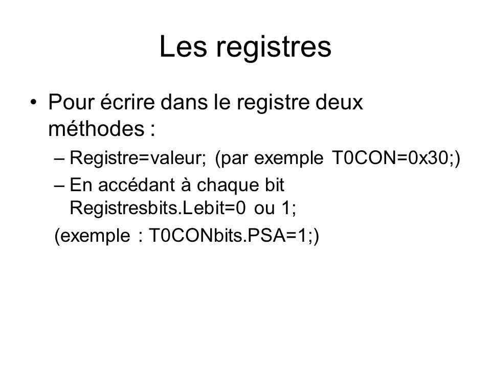 Les registres Pour écrire dans le registre deux méthodes :