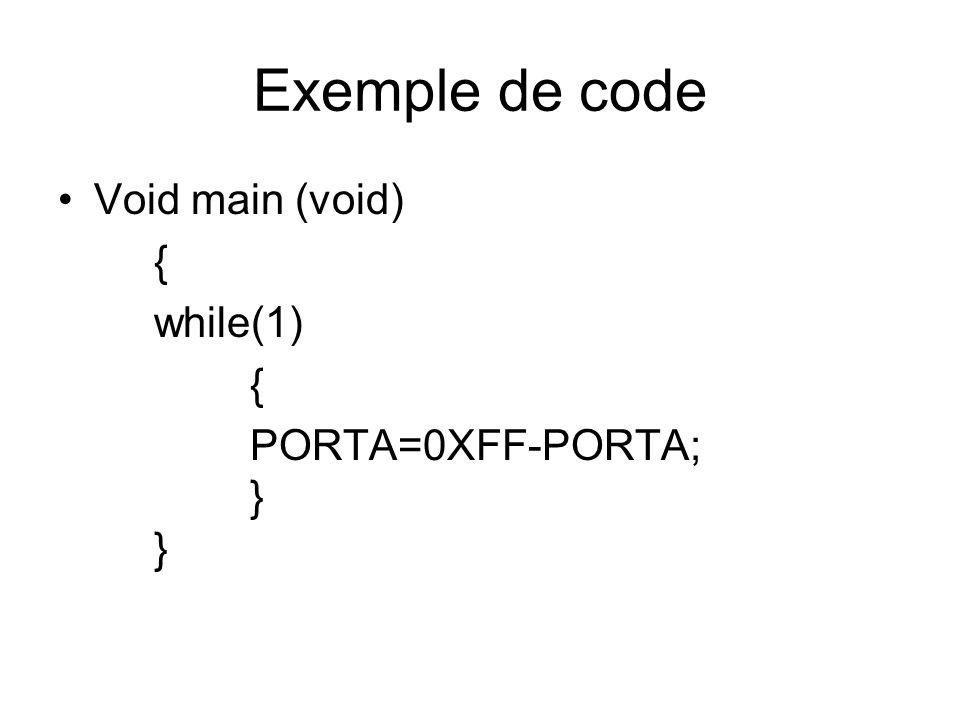 Exemple de code Void main (void) { while(1) PORTA=0XFF-PORTA; } }
