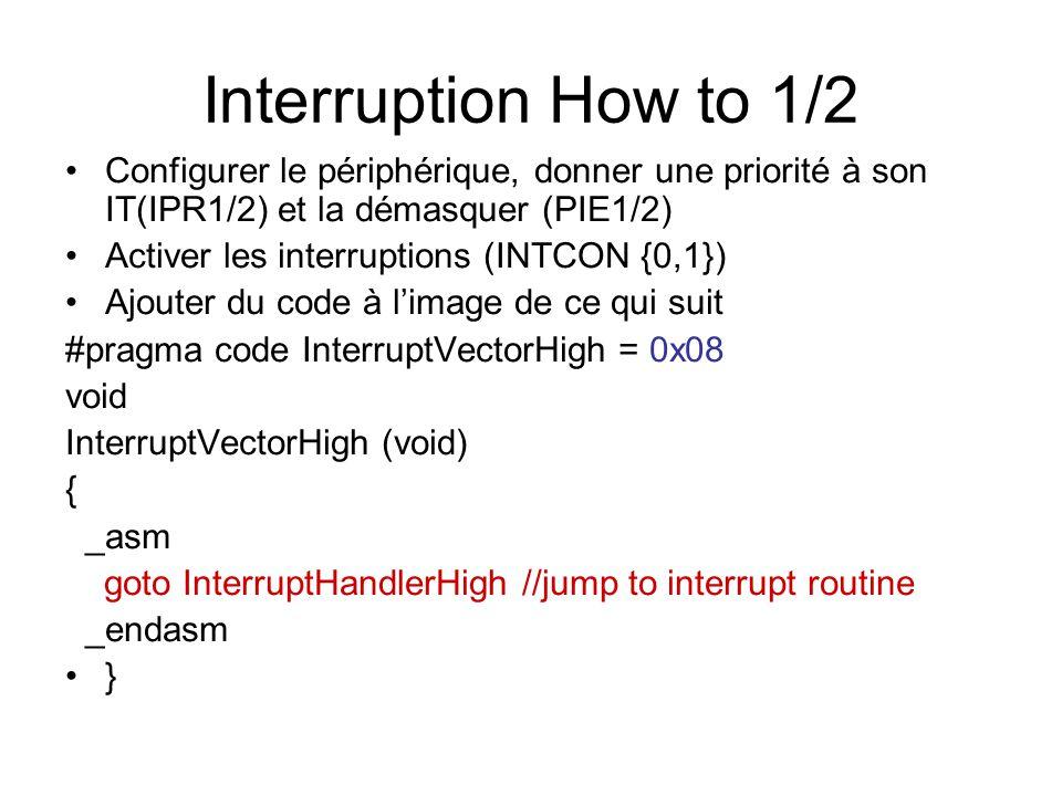 Interruption How to 1/2 Configurer le périphérique, donner une priorité à son IT(IPR1/2) et la démasquer (PIE1/2)