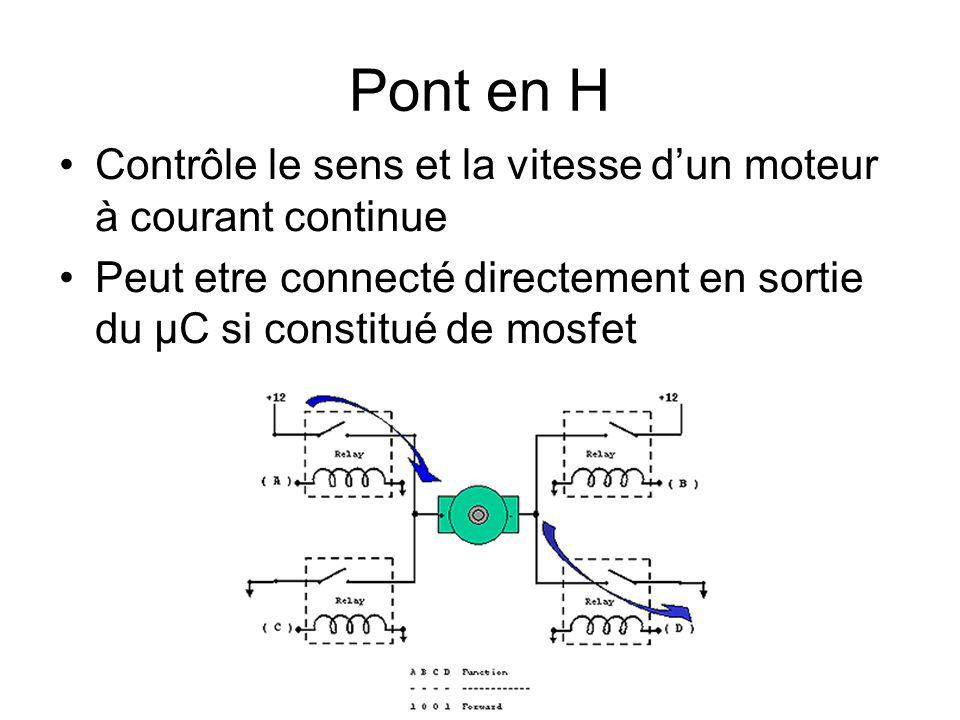 Pont en H Contrôle le sens et la vitesse d'un moteur à courant continue.