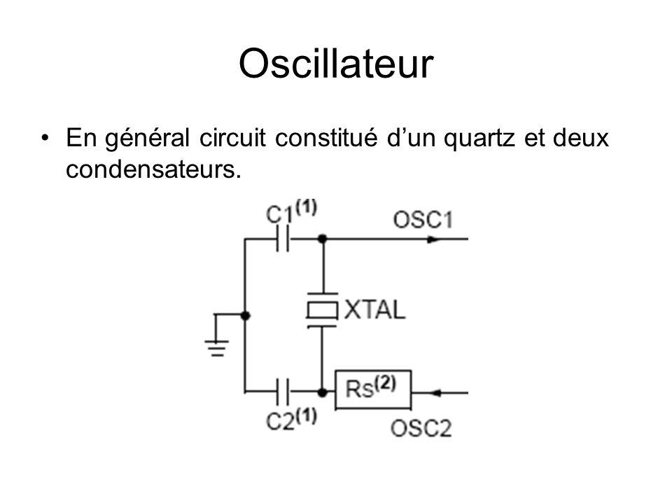Oscillateur En général circuit constitué d'un quartz et deux condensateurs.