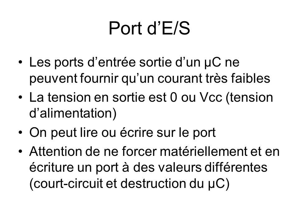 Port d'E/S Les ports d'entrée sortie d'un µC ne peuvent fournir qu'un courant très faibles.