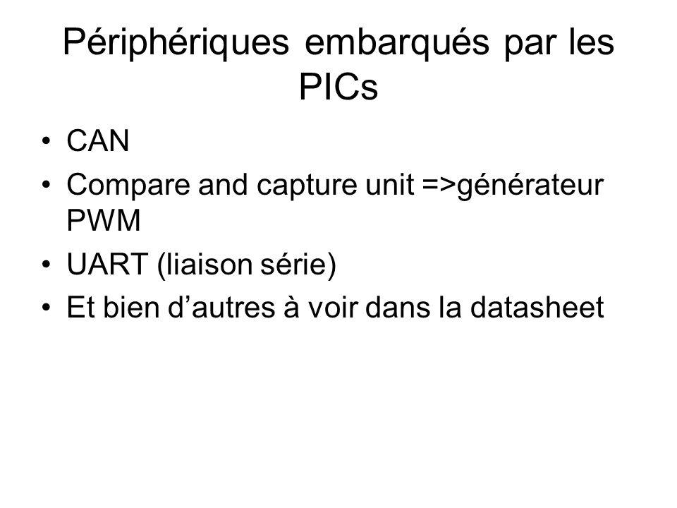 Périphériques embarqués par les PICs