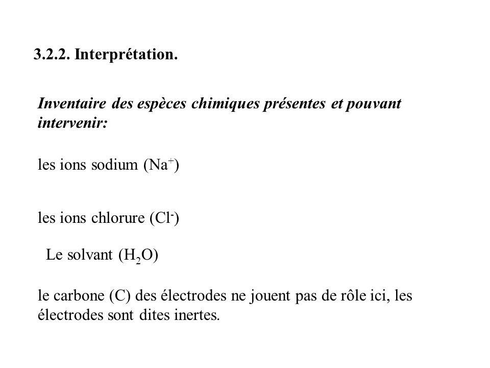 3.2.2. Interprétation. Inventaire des espèces chimiques présentes et pouvant intervenir: les ions sodium (Na+)