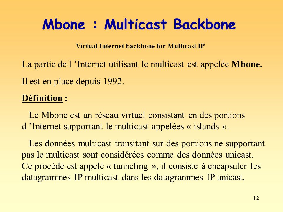 Mbone : Multicast Backbone Virtual Internet backbone for Multicast IP