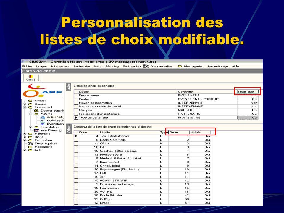 Personnalisation des listes de choix modifiable.