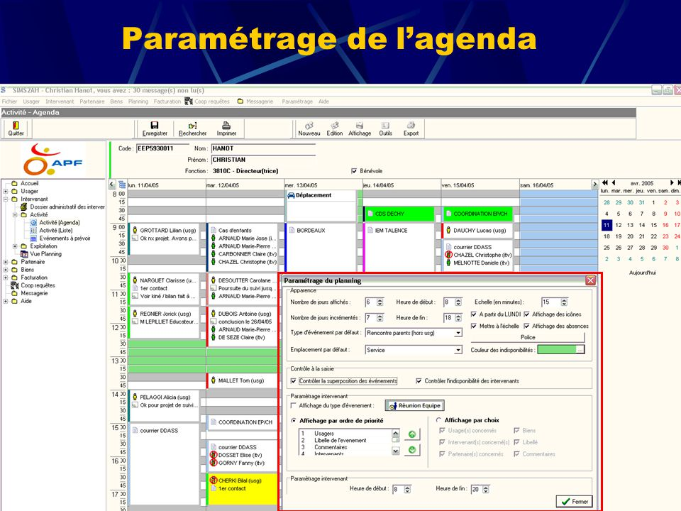 Paramétrage de l'agenda