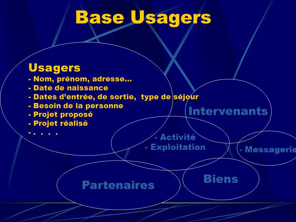 Base Usagers Usagers Intervenants Biens Partenaires - Activité