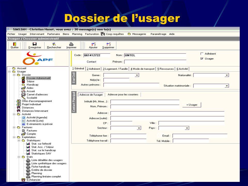 Dossier de l'usager