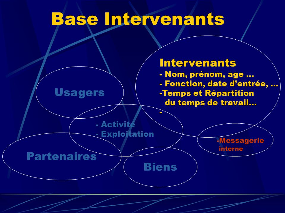 Base Intervenants Intervenants Usagers Partenaires Biens