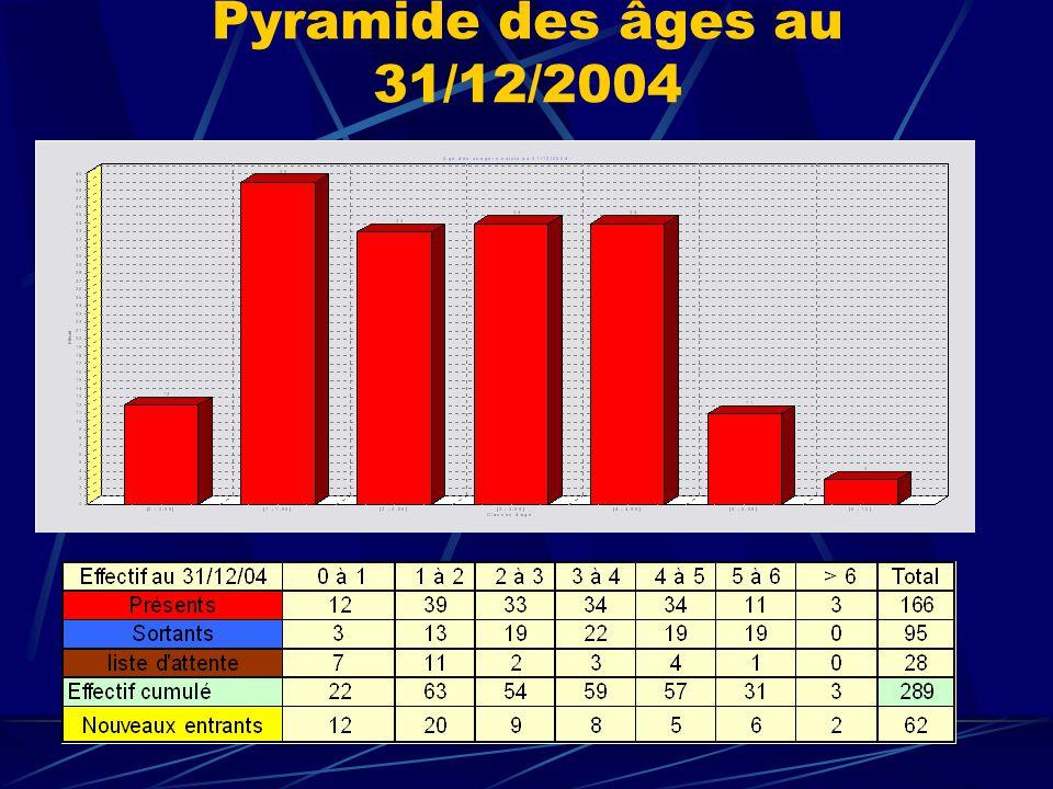 Pyramide des âges au 31/12/2004