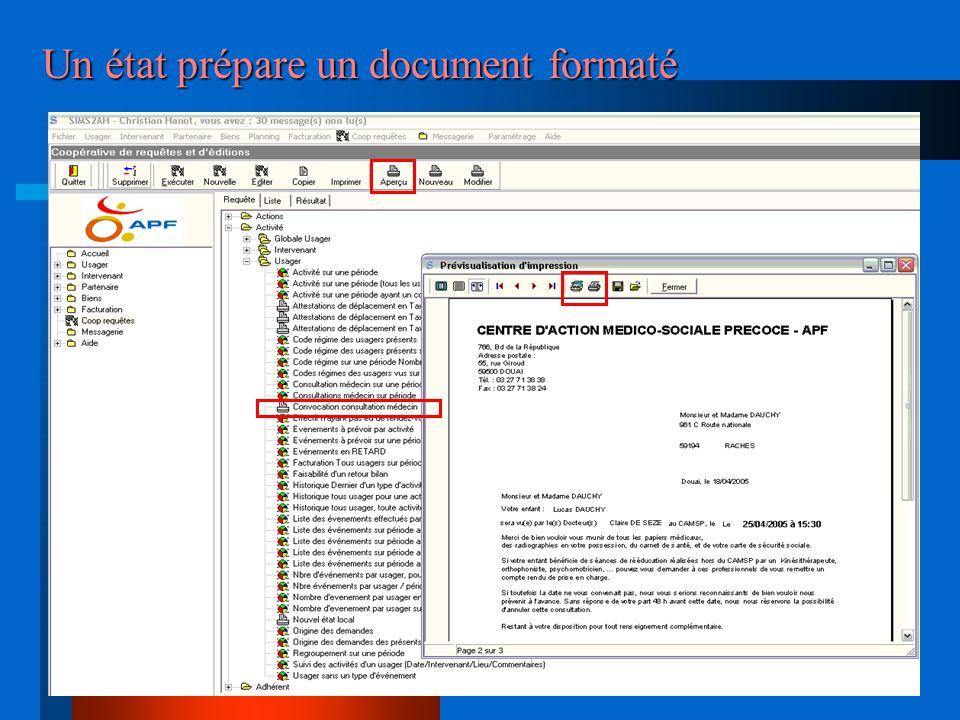Un état prépare un document formaté