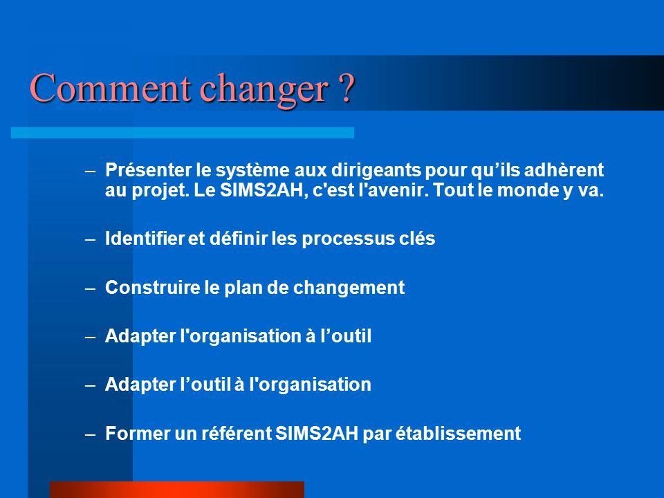 Comment changer Présenter le système aux dirigeants pour qu'ils adhèrent au projet. Le SIMS2AH, c est l avenir. Tout le monde y va.