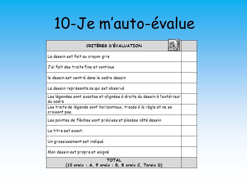 CRITÈRES D'ÉVALUATION (10 croix : A, 9 croix : B, 8 croix C, 7croix D)