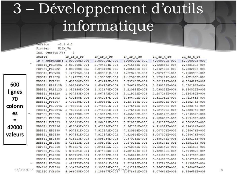 3 – Développement d'outils informatique