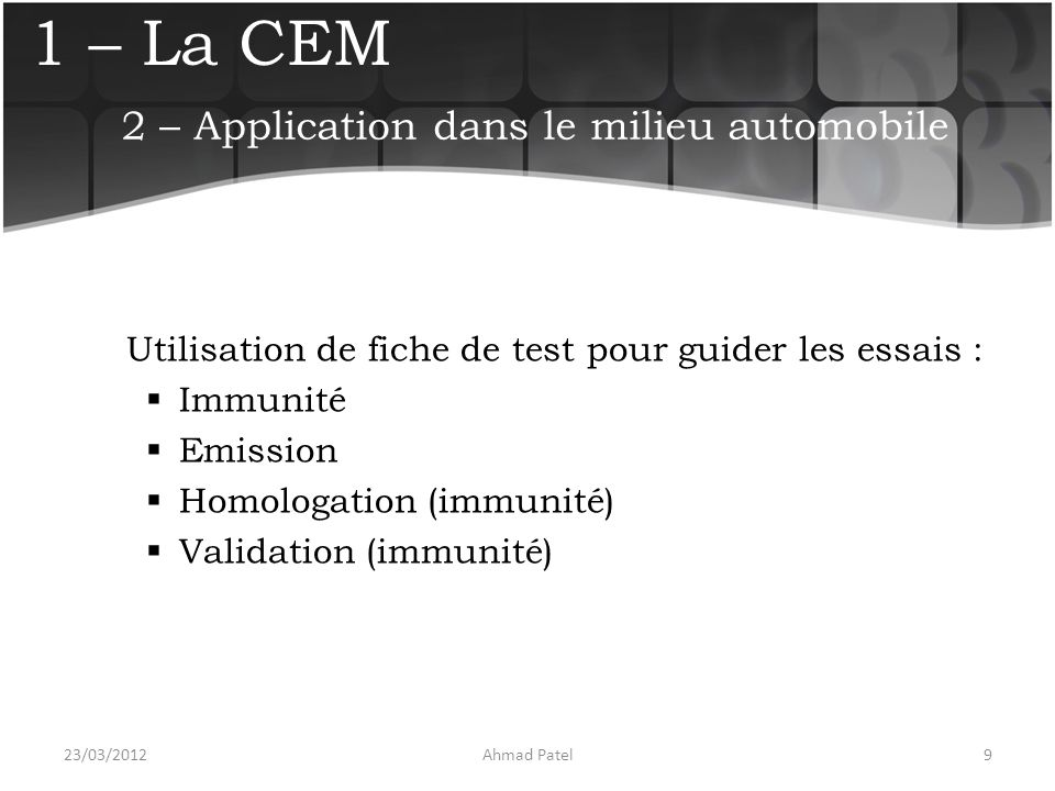 2 – Application dans le milieu automobile