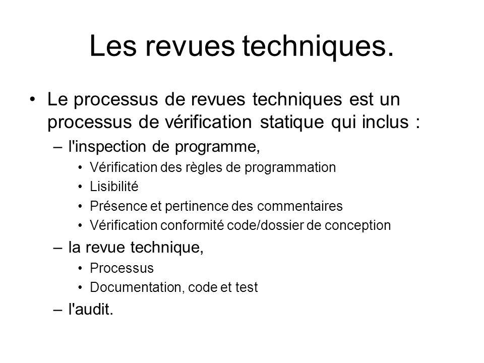 Les revues techniques. Le processus de revues techniques est un processus de vérification statique qui inclus :