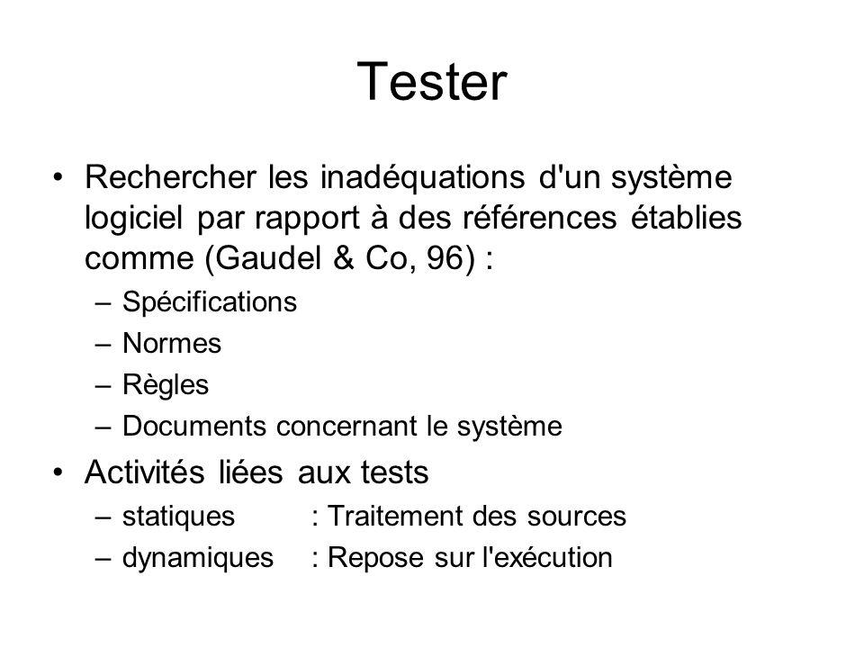 Tester Rechercher les inadéquations d un système logiciel par rapport à des références établies comme (Gaudel & Co, 96) :