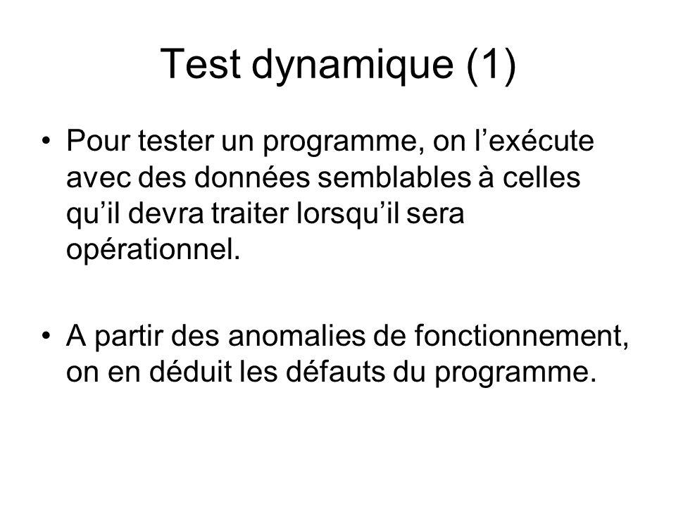 Test dynamique (1) Pour tester un programme, on l'exécute avec des données semblables à celles qu'il devra traiter lorsqu'il sera opérationnel.