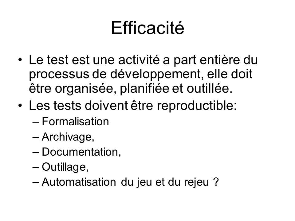 Efficacité Le test est une activité a part entière du processus de développement, elle doit être organisée, planifiée et outillée.