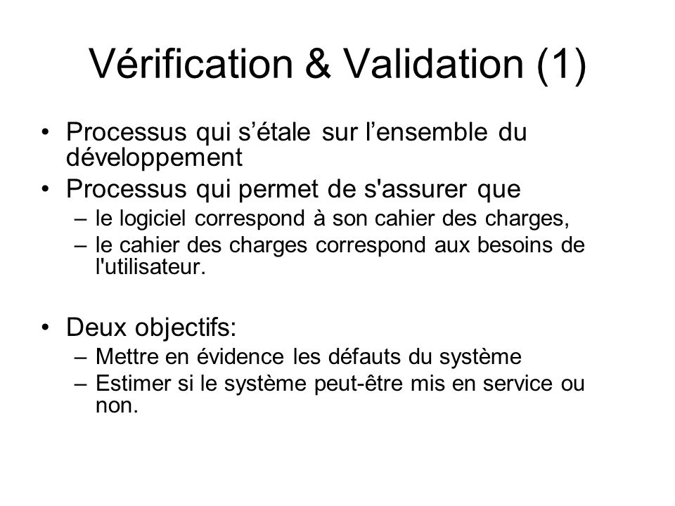 Vérification & Validation (1)