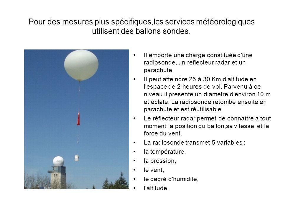 Pour des mesures plus spécifiques,les services météorologiques utilisent des ballons sondes.