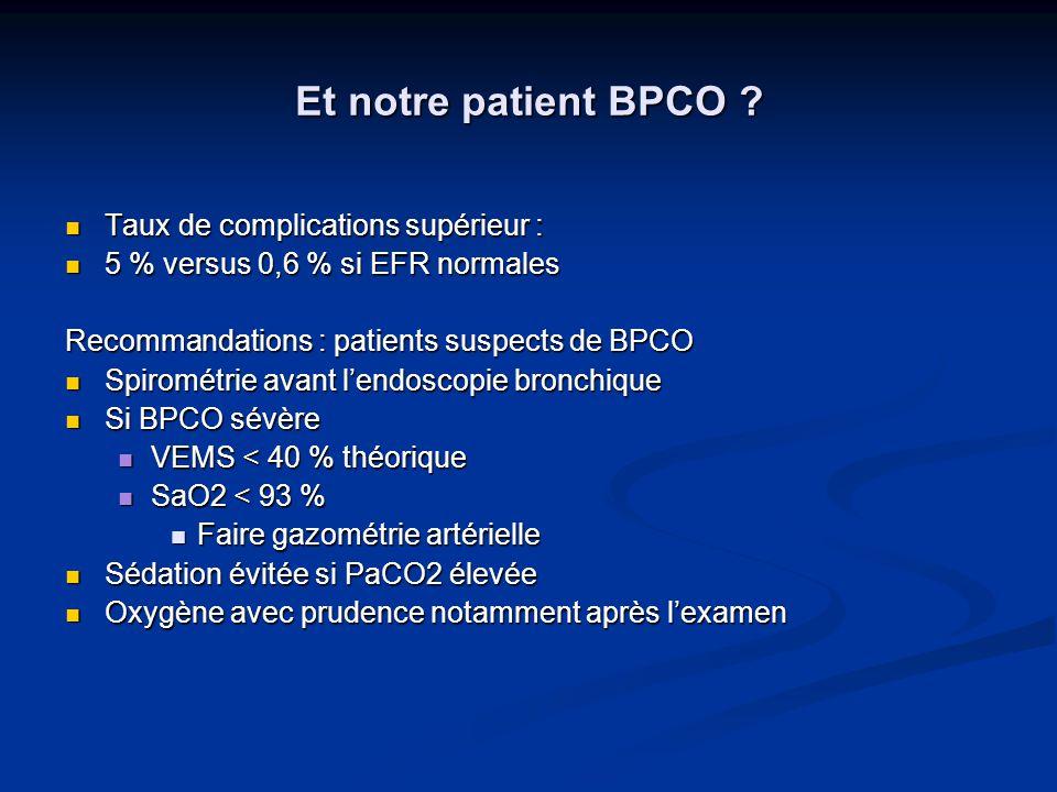 Et notre patient BPCO Taux de complications supérieur :