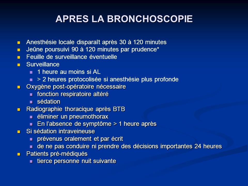APRES LA BRONCHOSCOPIE