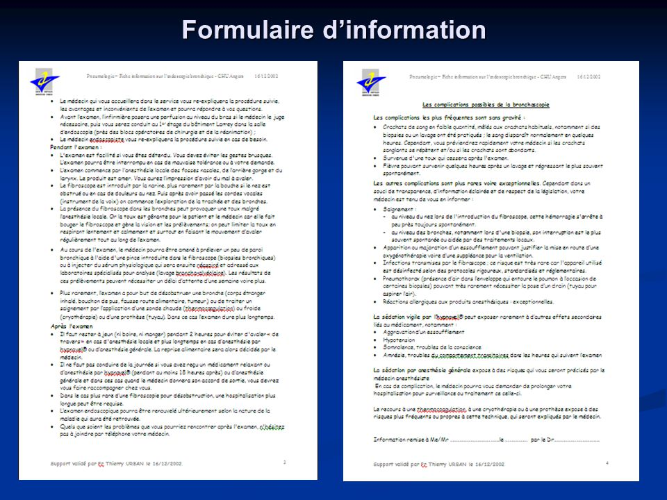 Formulaire d'information