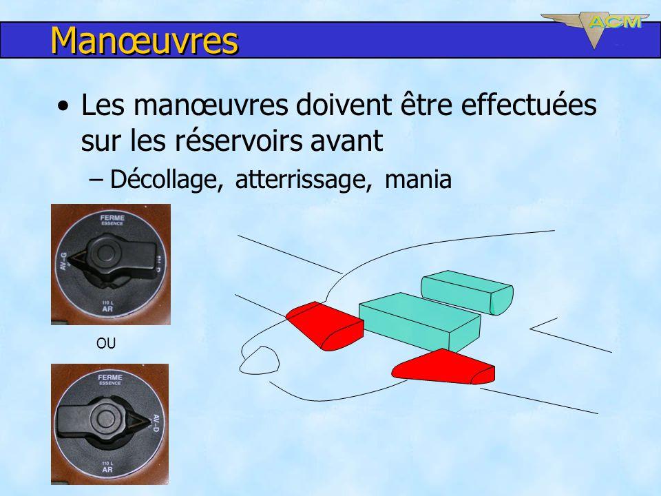 Manœuvres Les manœuvres doivent être effectuées sur les réservoirs avant. Décollage, atterrissage, mania.