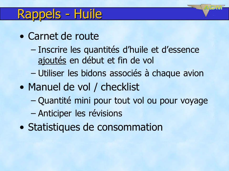 Rappels - Huile Carnet de route Manuel de vol / checklist