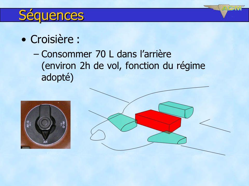 Séquences Croisière : Consommer 70 L dans l'arrière (environ 2h de vol, fonction du régime adopté)