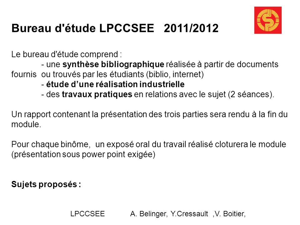 Bureau d étude LPCCSEE 2011/2012