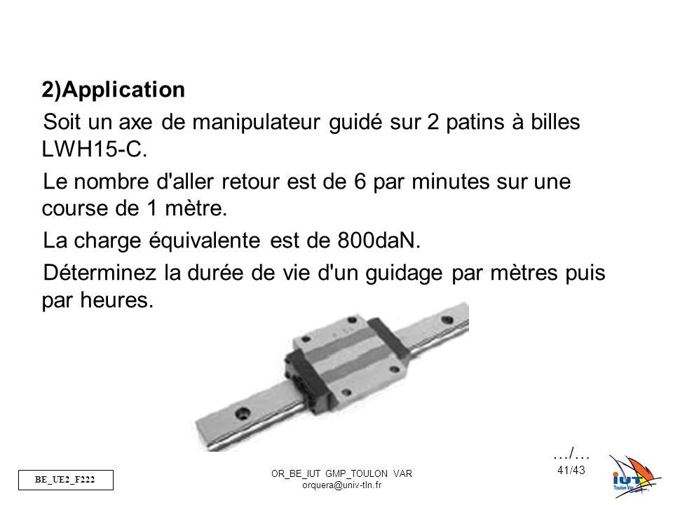 Soit un axe de manipulateur guidé sur 2 patins à billes LWH15-C.
