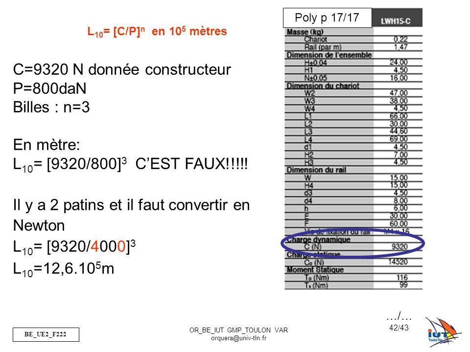 C=9320 N donnée constructeur P=800daN Billes : n=3 En mètre: