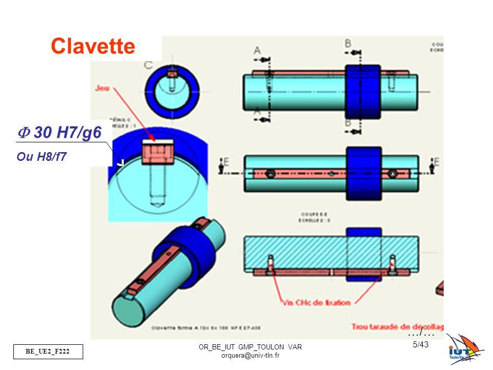 Clavette F 30 H7/g6 Ou H8/f7 …/…