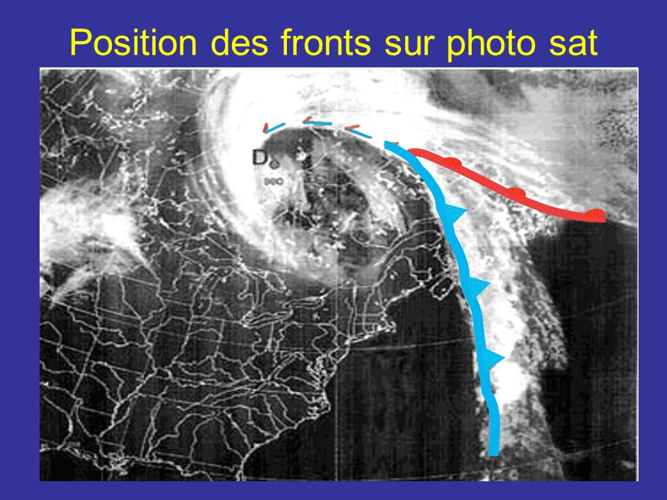 Position des fronts sur photo sat