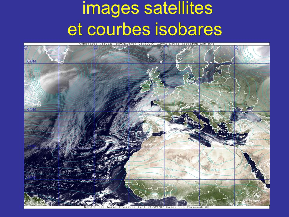 images satellites et courbes isobares