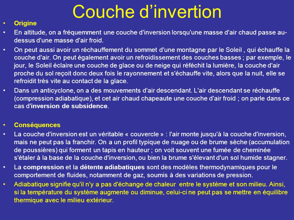Couche d'invertion Origine