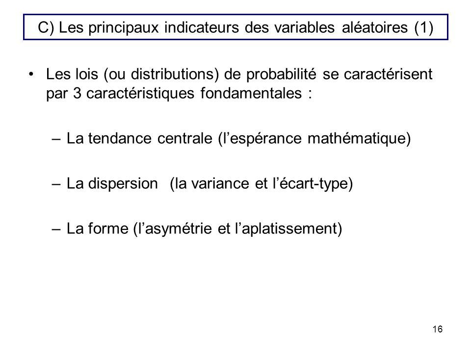 C) Les principaux indicateurs des variables aléatoires (1)
