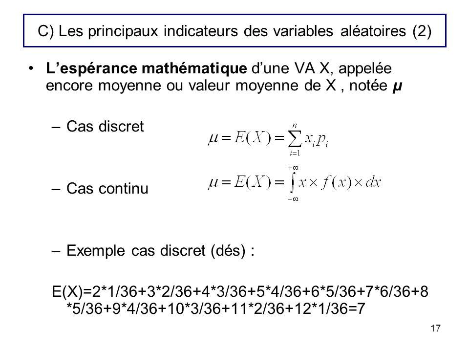 C) Les principaux indicateurs des variables aléatoires (2)