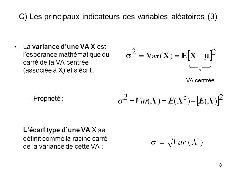 C) Les principaux indicateurs des variables aléatoires (3)