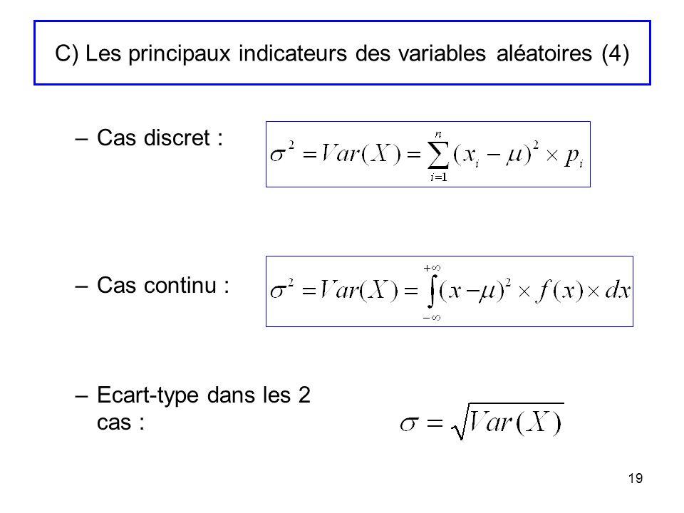 C) Les principaux indicateurs des variables aléatoires (4)