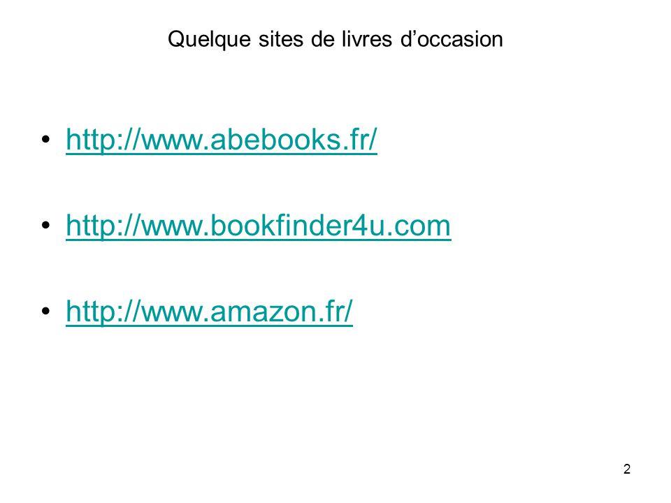 Quelque sites de livres d'occasion