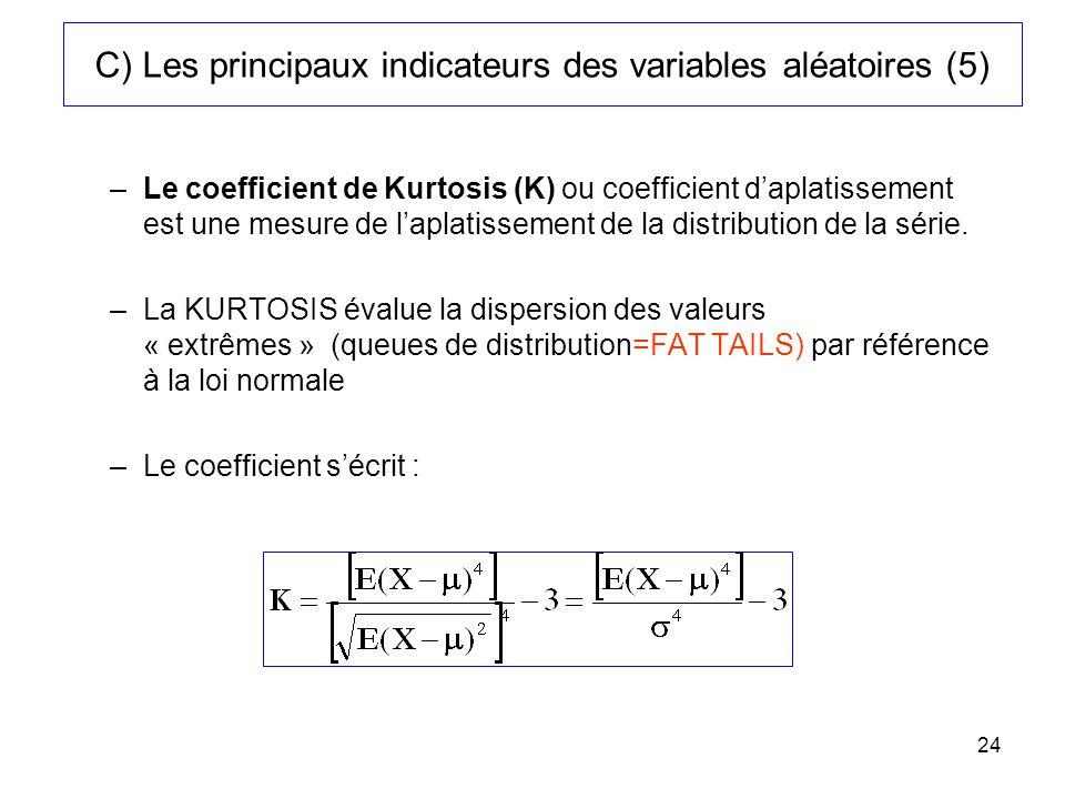 C) Les principaux indicateurs des variables aléatoires (5)