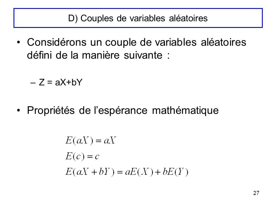 D) Couples de variables aléatoires