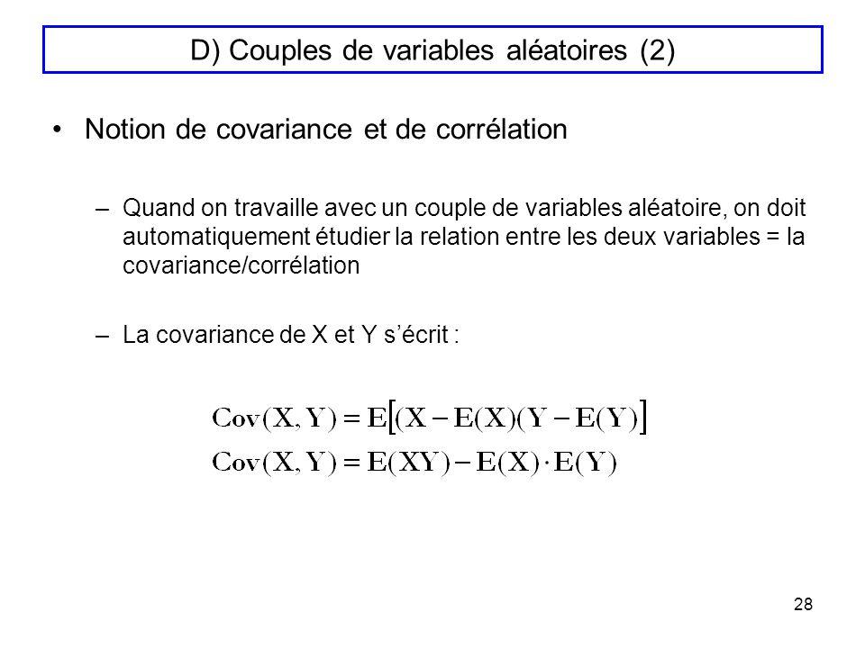 D) Couples de variables aléatoires (2)