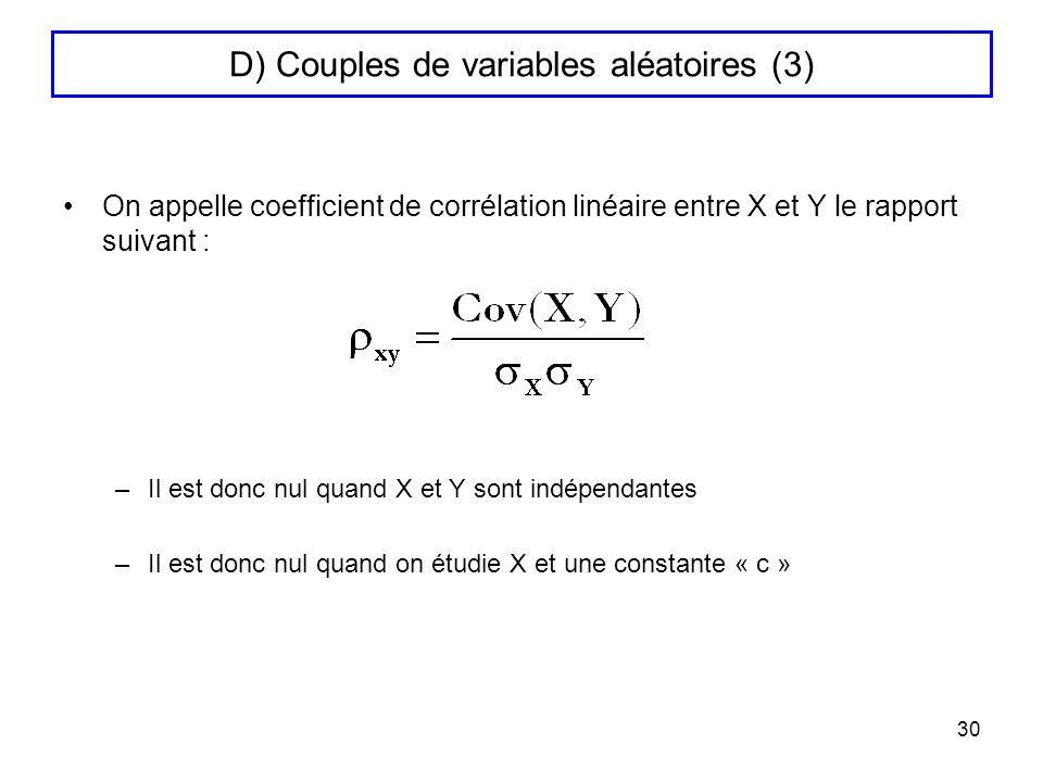 D) Couples de variables aléatoires (3)